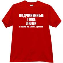 Subordinated - too People Funny Russian T-shirt in red