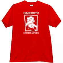 Wanted Beautiful Girl Funny Russian T-shirt in red