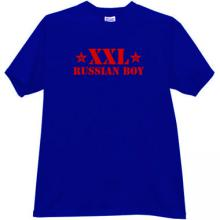 Russian Boy XXL Funny T-shirt in blue